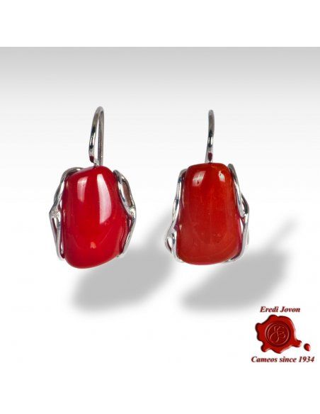 Handmade Red Coral Earrings in Silver
