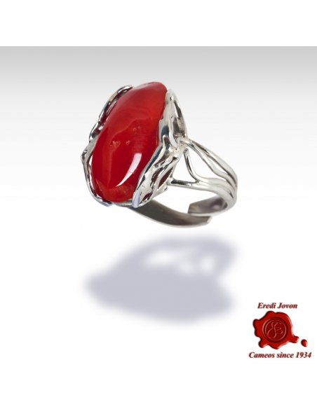 Red Coral Ring in Silver Blood