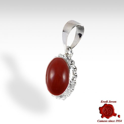 Ciondolo Corallo Rosso Montatura Argento 925