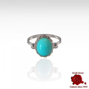 Turquoise Stone Ring 925 Silver Set