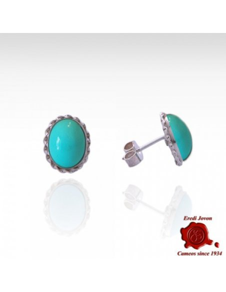 Turquoise Studs Earrings in Silver