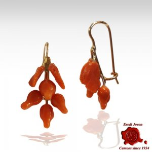 Antique Coral Sciacca Earrings Gold Set