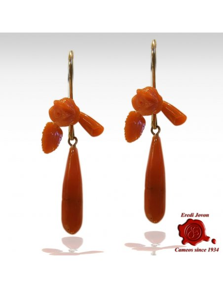 Sciacca Coral Rose Flowers and Tear Drop Earrings