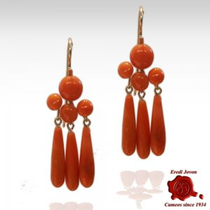 Antique Coral Tear Drop Earrings