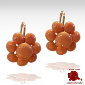 Dangle Italian Coral Antique Earrings Gold Set