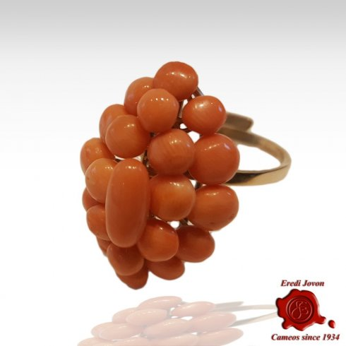 Italian Coral Antique Ring Gold Set
