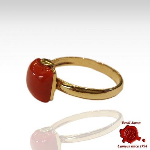 Anello Oro Corallo Rosso Griffe