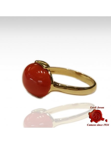 Oval Gold Red Coral Ring Horizontal
