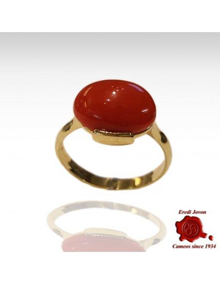 Anello Oro Corallo Rosso Cabochon Orizzontale