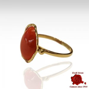 Red Coral Ring Sparkling Gold