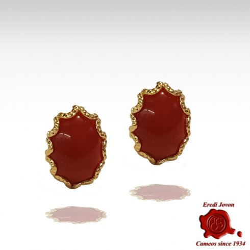 Oval Red Coral Gold Stud Earrings