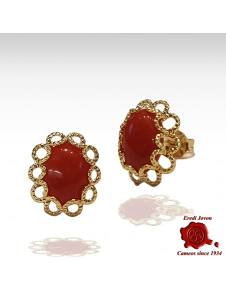 Oval Red Coral Earrings with Gold Filigree
