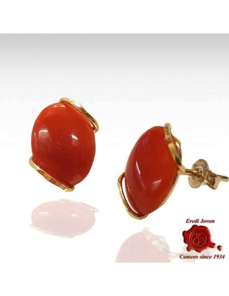 Red Coral Earrings Sparkling Gold