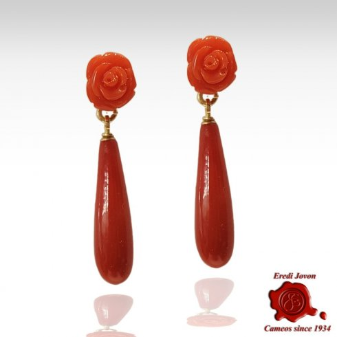 Red Coral Drop and Roses Earrings Gold