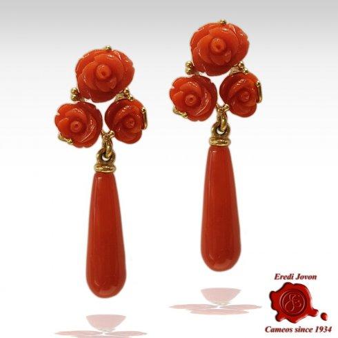 Orecchini Pendenti in Corallo Rosso con Rosa