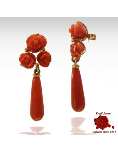 Red Coral Drop and 3 Roses Earrings in Gold