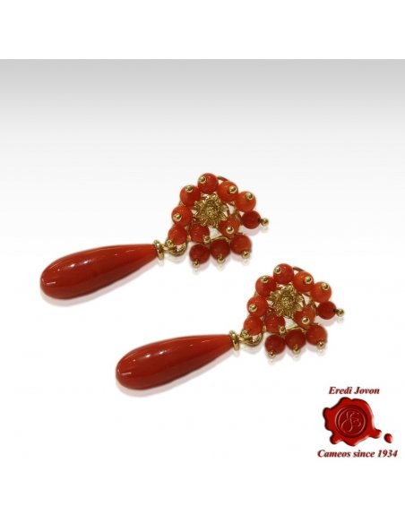Red Coral Drop Earrings in Gold with Flowers