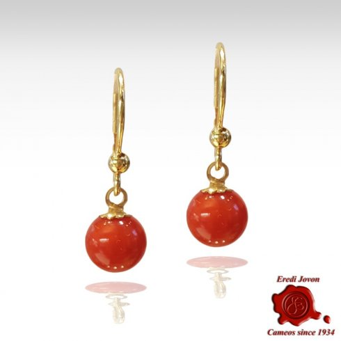 Coral Beads Dangle Earrings Gold