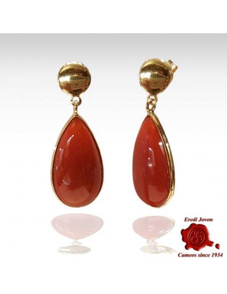 Orecchini in Oro Pendenti con Goccia di Corallo Rosso