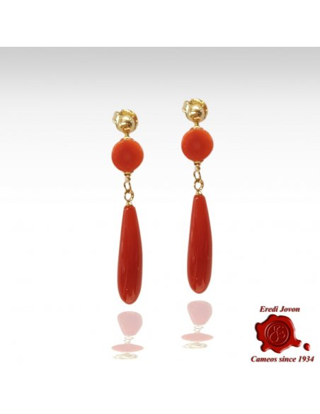 Gold Set Red Coral Earrings Tear Drop