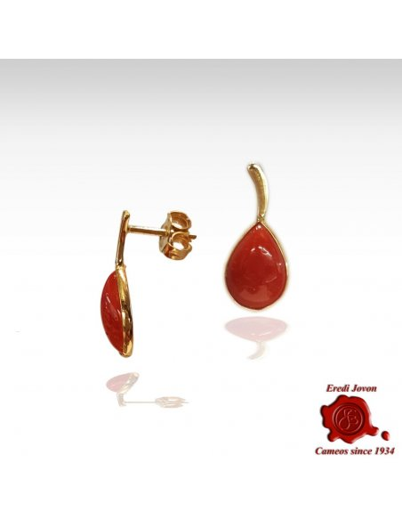 Tear Drop Studs Red Coral Earrings Gold