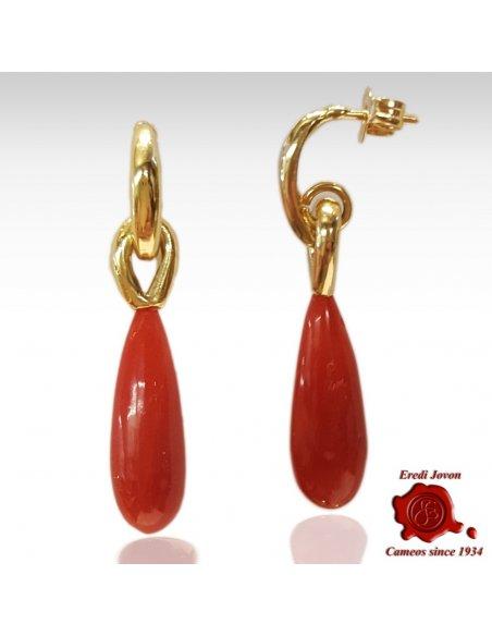 Orecchini Pendenti in Corallo Rosso e Oro 18 Kt.