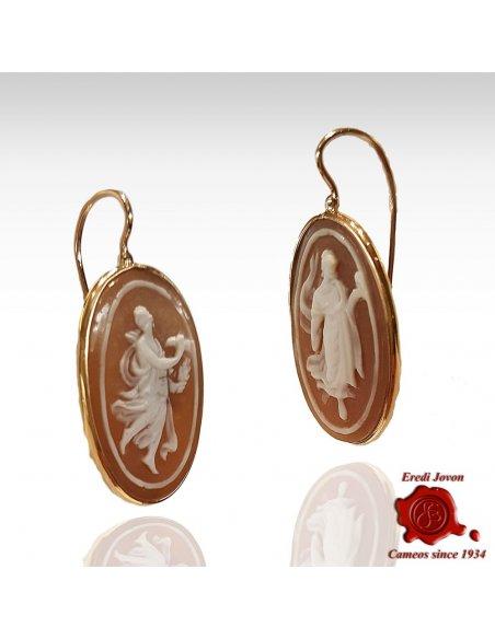 """The Hours"" Sardonica Cameo Earrings Handmade"