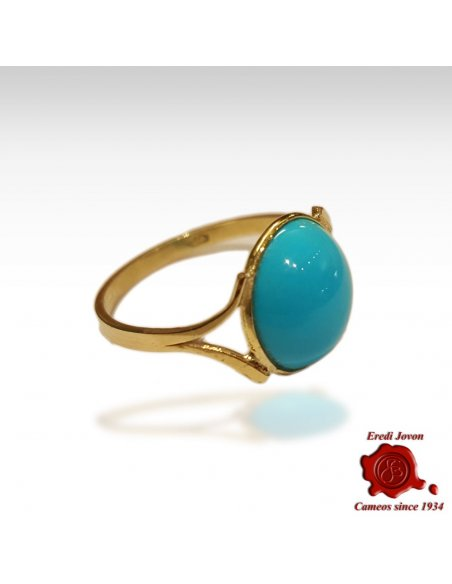Round Gold Turquoise Ring for Women
