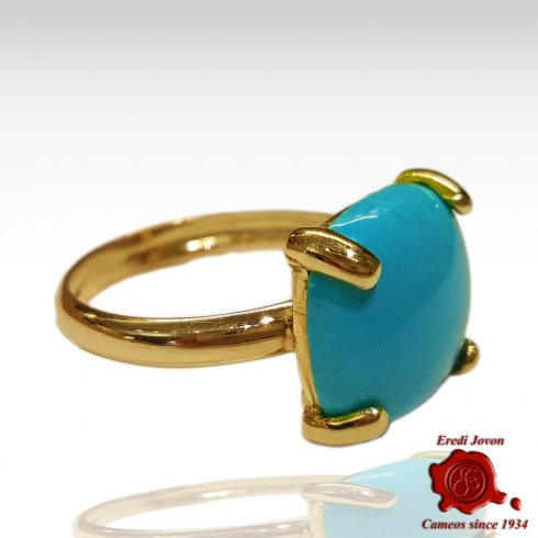 Square Turquoise Ring Jewelry Gold