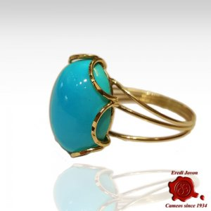Turquoise Ring Yellow Sparkling Gold