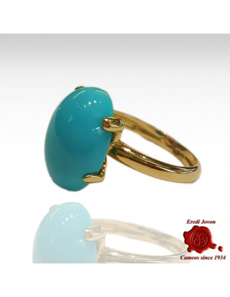Turquoise Ring Band in Gold