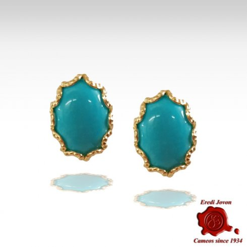 Turquoise Earrings Stud Gold Venetian Style