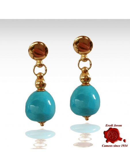 Dangle Turquoise Earrings in Yellow Gold