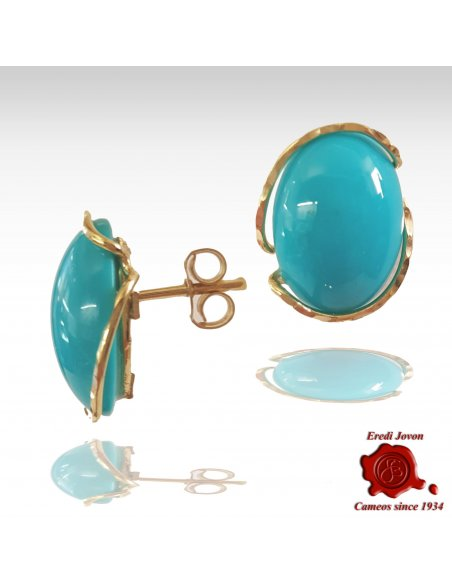 Blue Turquoise Earrings with Leverback in Gold