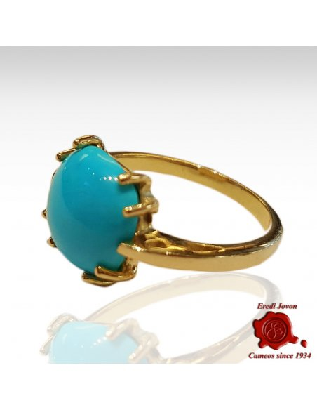 Turquoise Cabochon Ring Gold Griffe