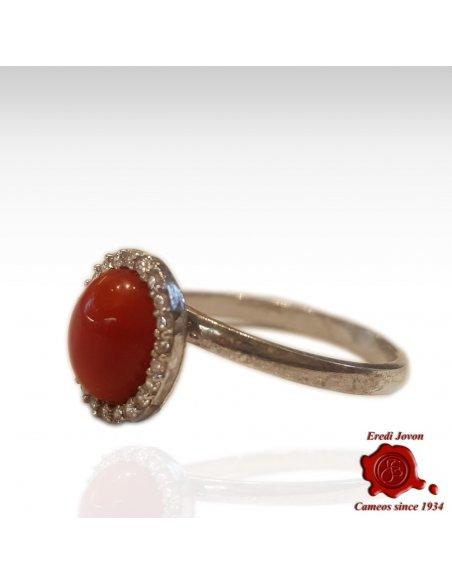 Anello Pietra Bombé Corallo Rosso E Zirconi