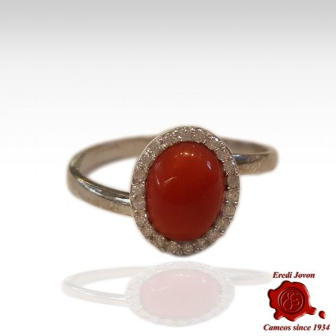 Red Coral And Zirconia Ring