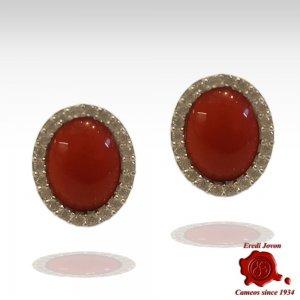 Orecchini Corallo Rosso Zirconi in Argento