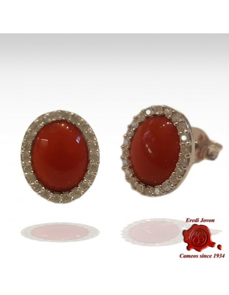 Earrings Red Coral And Zirconia