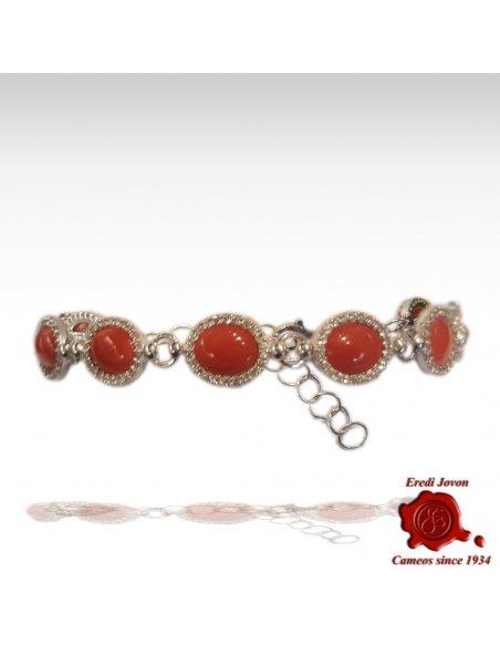 Bracciale Corallo Rosso Zirconi in Argento