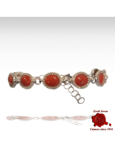 Red Coral Bracelet with Zirconia