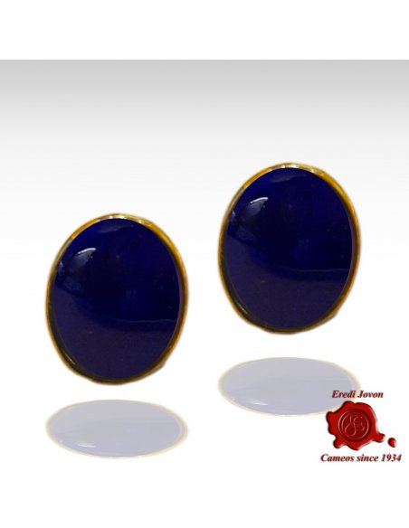 Blue Lapis Lazuli Earrings Gold Studs
