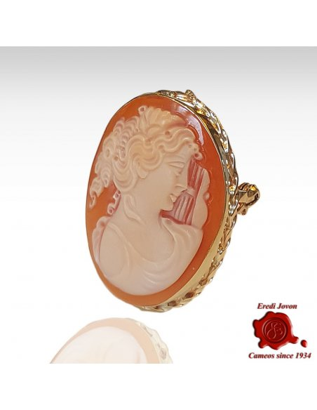 Hand Carved Shell Cameo Brooch in Gold