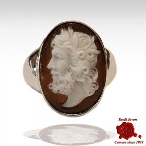 Man Cameo Ring Chevalier Silver