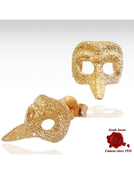 Plague Doctor Stud Gold Mask Earrings