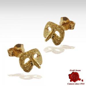 Orecchini Oro Maschera Carnevale Arlecchino Perno