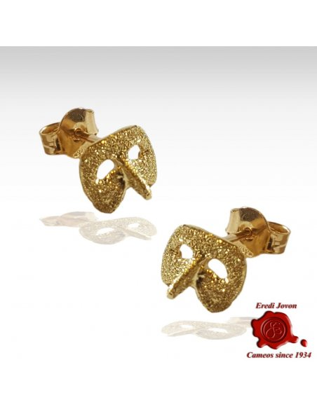Gold Earrings Venetian Mask Carnival Harlequin