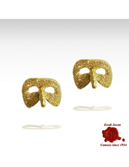 Gold Earrings Venetian Mask Carnival Harlequin
