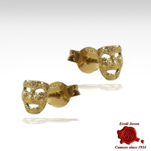 Gold Earrings Mask Carnival Venice Comedy