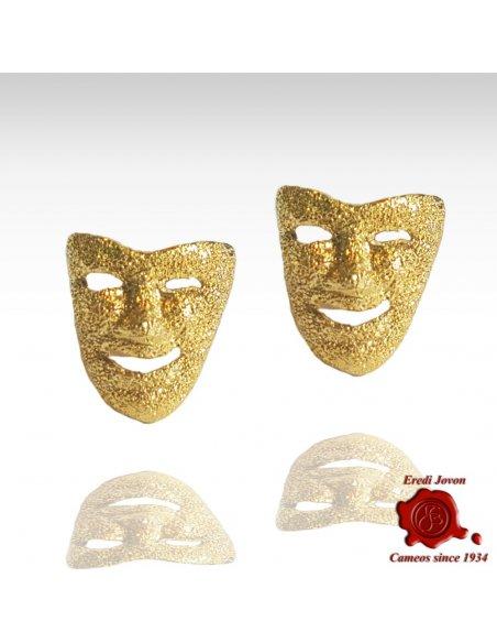 Orecchini Oro Maschera Commedia Martellati a Mano